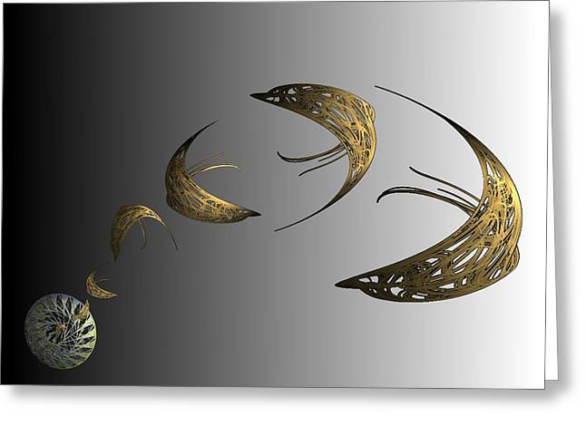 Golden Dolphin Flip Greeting Card by Ricky Kendall