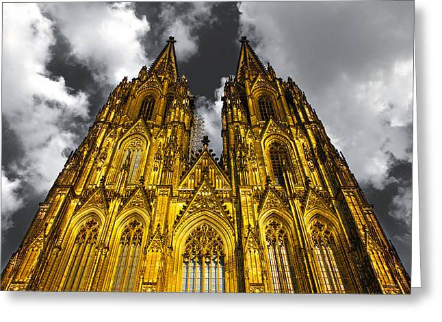 Gelb Greeting Cards - Golden Dome of Cologne Greeting Card by Thomas Splietker