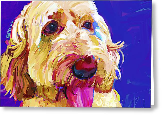 Golden Doodle 3 Greeting Card by Jackie Jacobson