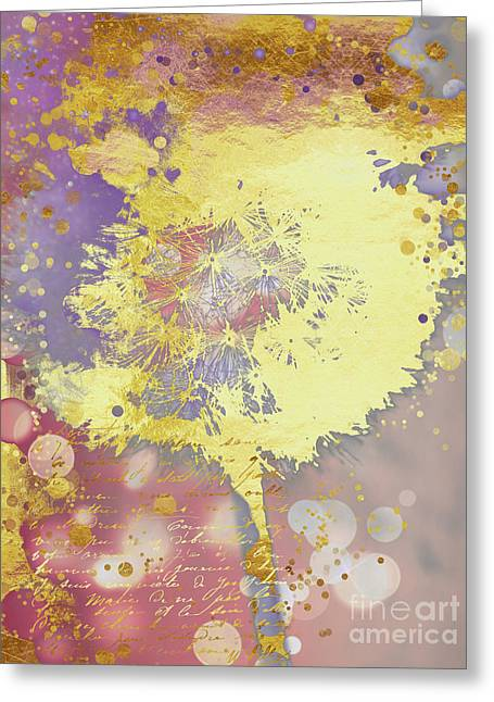 Golden Dreams Abstract Gold Dandelion Greeting Card by Tina Lavoie