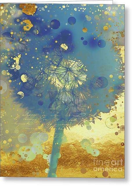 Golden Dreams II Abstract Marine Blue And Gold Dandelion Puff Greeting Card by Tina Lavoie