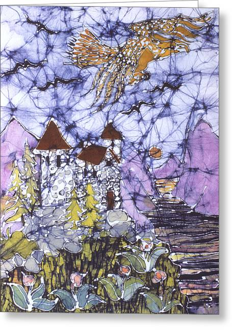 Path Tapestries - Textiles Greeting Cards - Golden Eagle Flies Above Castle Greeting Card by Carol  Law Conklin