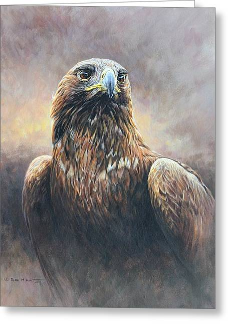 Greeting Card featuring the painting Golden Eagle Portrait by Alan M Hunt