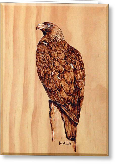Greeting Card featuring the pyrography Golden Eagle by Ron Haist