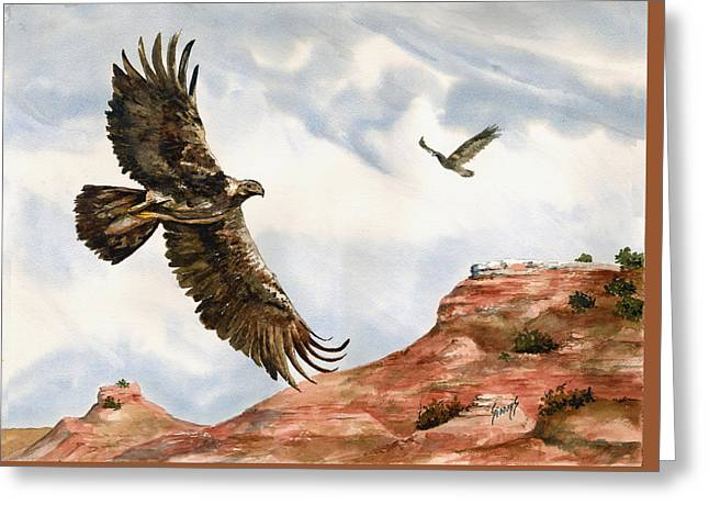 Golden Eagles In Fligh Greeting Card by Sam Sidders