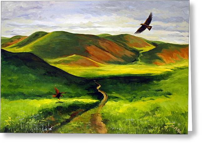 Greeting Card featuring the painting Golden Eagles On Green Grassland by Suzanne McKee