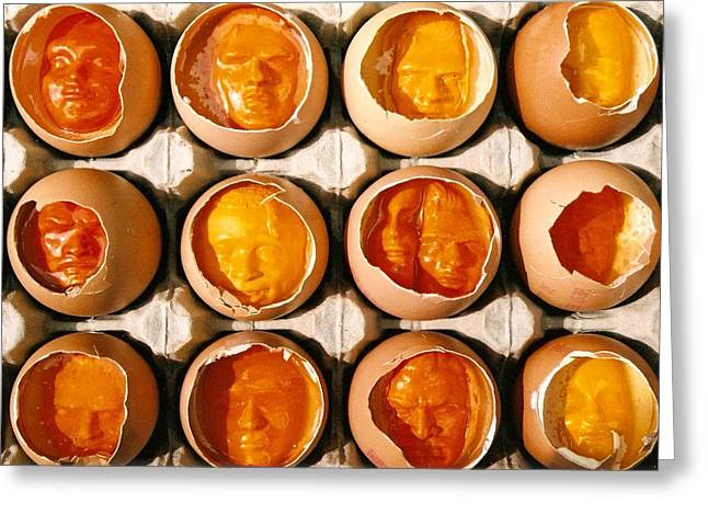 People Reliefs Greeting Cards - Golden Eggs Greeting Card by Mark Cawood
