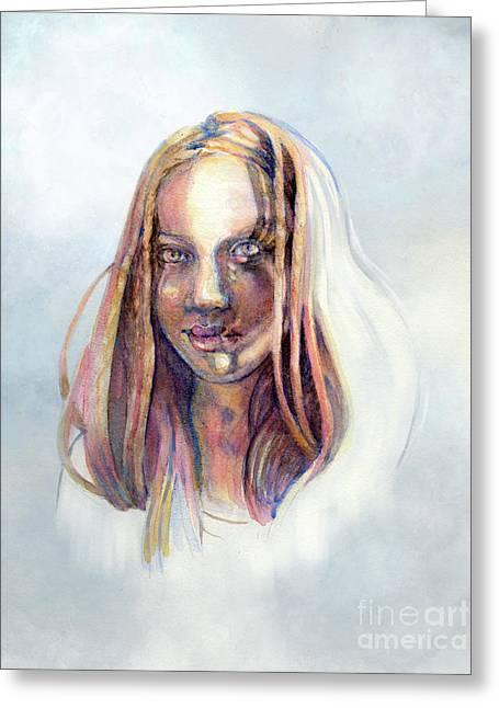 Greeting Card featuring the painting Golden Eyes by Lora Serra