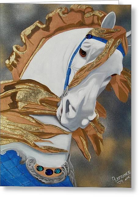 Golden Fantasy Greeting Card by Debbie LaFrance