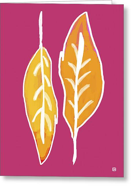 Greeting Card featuring the painting Golden Feathers by Lisa Weedn