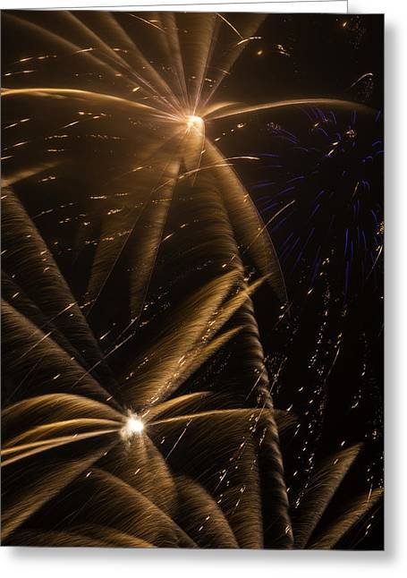 Golden Fireworks Greeting Card by Garry Gay
