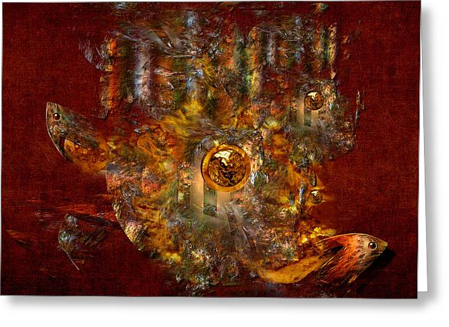Greeting Card featuring the digital art Golden Fish In The Lake by Alexa Szlavics