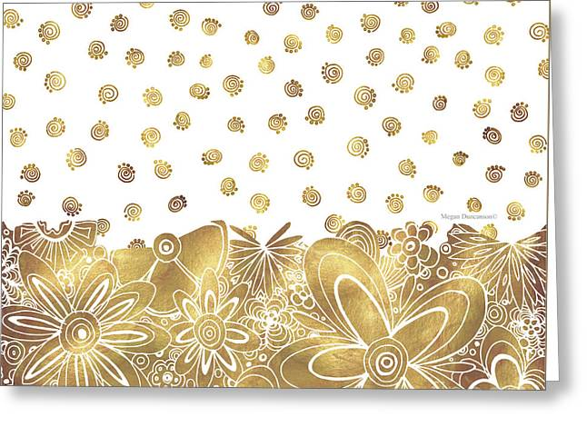Golden Floral Curly Cue Pattern Chic And Contemporary Trendy Art By Megan Duncanson Greeting Card