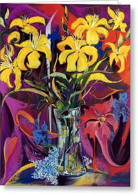 Golden Flowers Greeting Card by Mikko Tyllinen