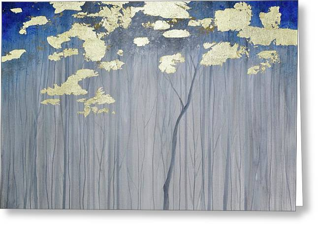 Greeting Card featuring the painting Golden Forest by Mary Scott