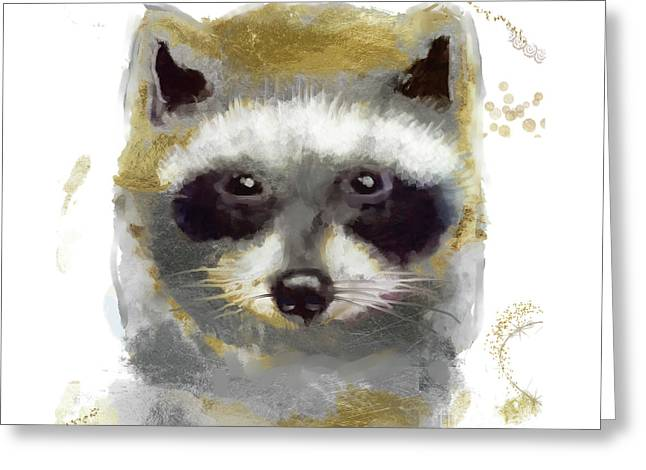 Golden Forest Raccoon  Greeting Card