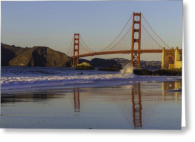 Golden Gate And Waves Greeting Card by Garry Gay
