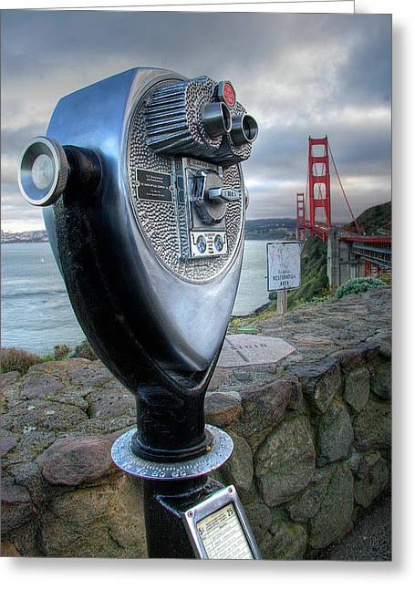 California Images Greeting Cards - Golden Gate Binoculars Greeting Card by Peter Tellone