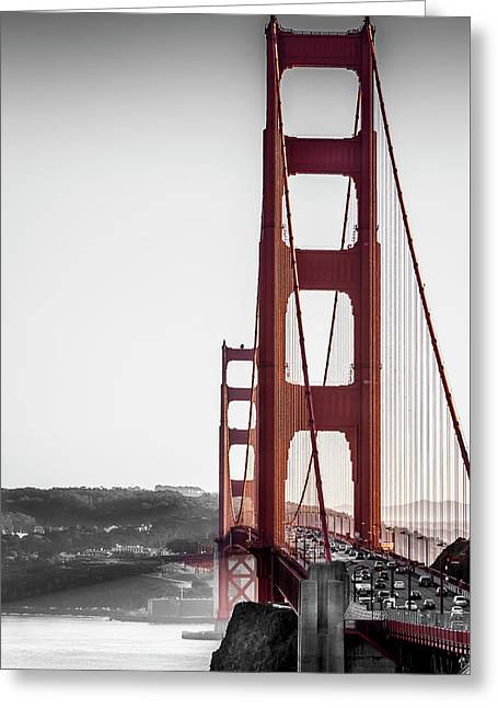Golden Gate Black And Red Greeting Card