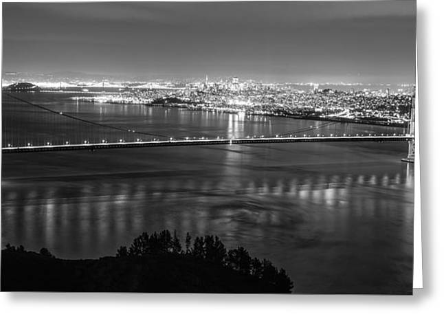 Golden Gate Black And White Panoramic  Greeting Card