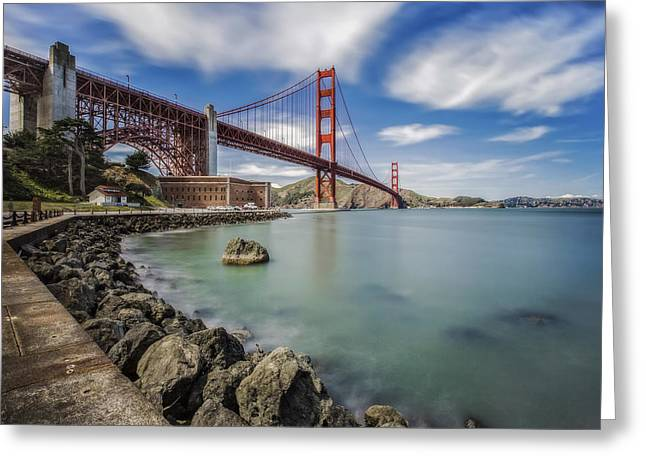 Golden Gate Bridge And Fort Point - San Francisco, Ca Greeting Card by Jennifer Rondinelli Reilly - Fine Art Photography