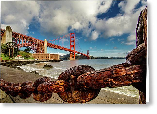 Golden Gate Bridge And Ft Point Greeting Card by Bill Gallagher