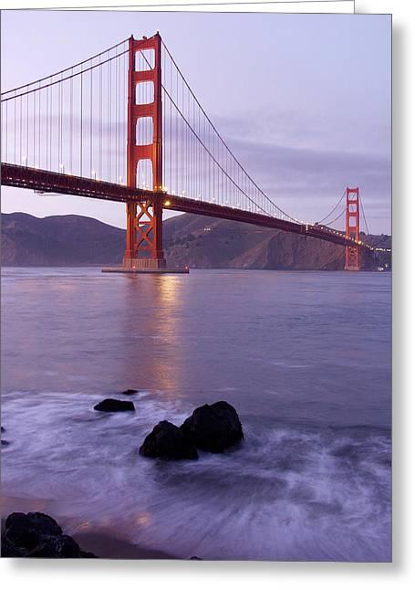 Golden Gate Bridge At Dusk Greeting Card by Mathew Lodge