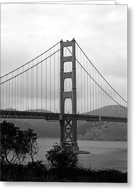 Golden Gate Bridge- Black And White Photography By Linda Woods Greeting Card by Linda Woods