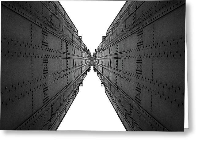 Golden Gate Bridge Black And White Reflection Greeting Card by Pelo Blanco Photo