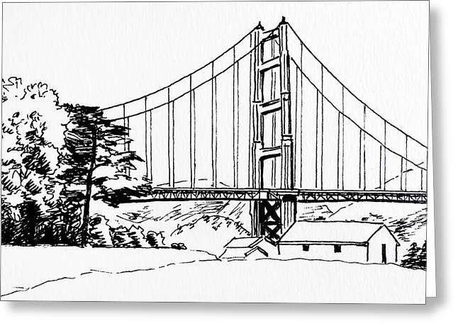 Golden Gate Bridge Black-n-white Greeting Card