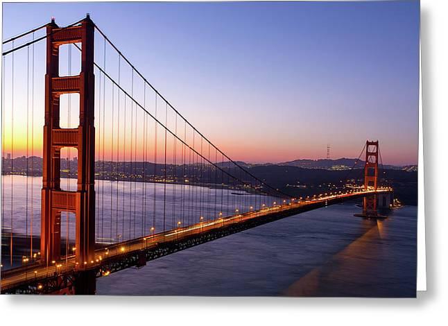Golden Gate Bridge During Sunrise Greeting Card