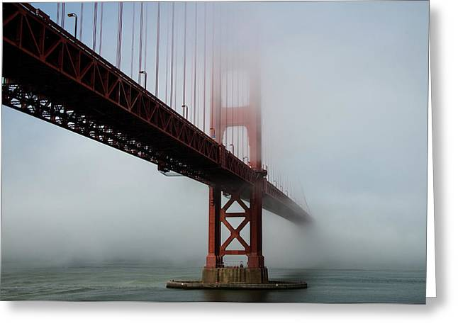 Greeting Card featuring the photograph Golden Gate Bridge Fog 2 by Stephen Holst
