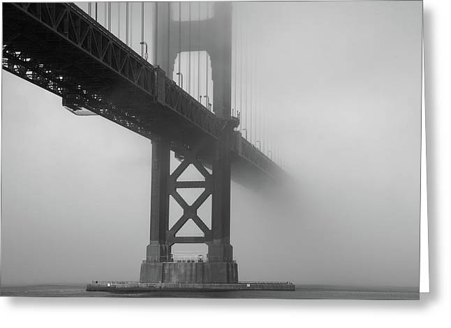 Greeting Card featuring the photograph Golden Gate Bridge Fog - Black And White by Stephen Holst