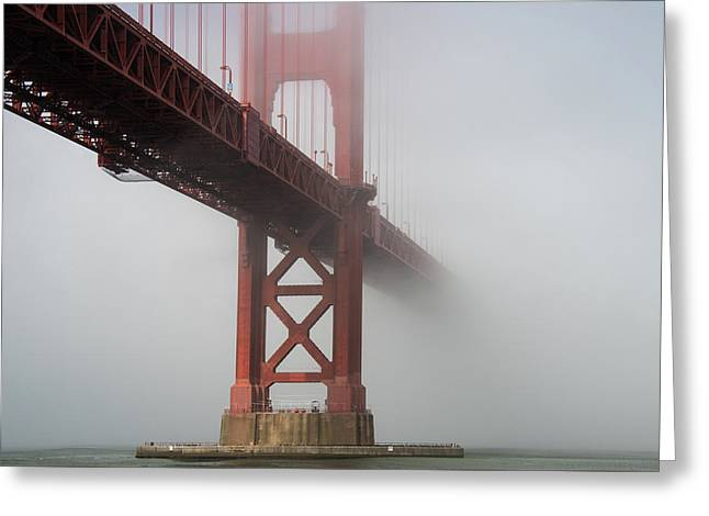 Greeting Card featuring the photograph Golden Gate Bridge Fog - Color by Stephen Holst