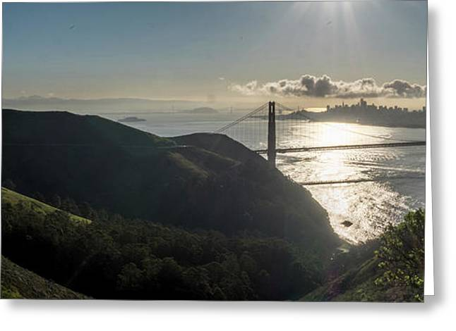 Golden Gate Bridge From The Road Up The Mountain Greeting Card