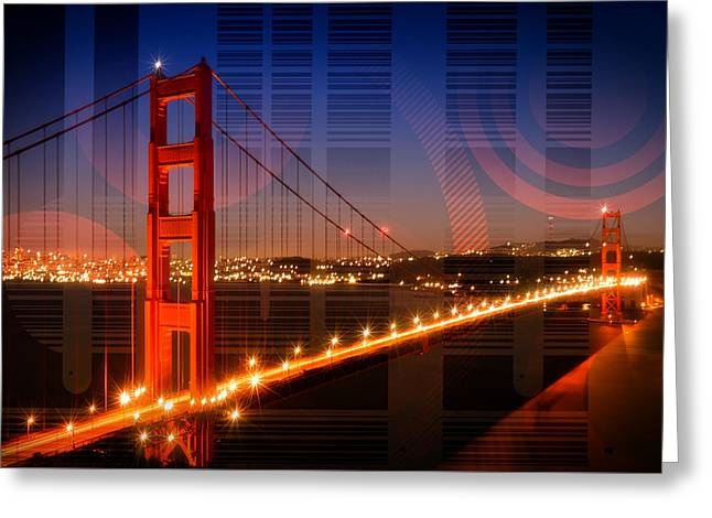 Golden Gate Bridge Geometric Mix No 1 Greeting Card by Melanie Viola