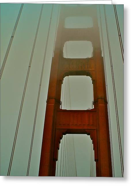 Golden Gate Bridge In Swirling Mist Greeting Card by Kirsten Giving