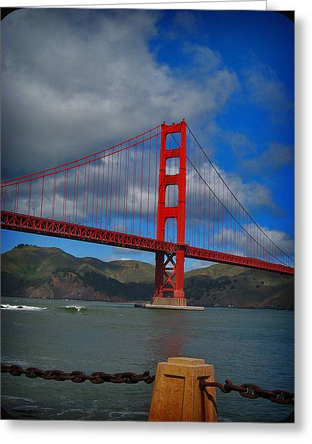 Greeting Card featuring the photograph Golden Gate Bridge by Kim Pascu
