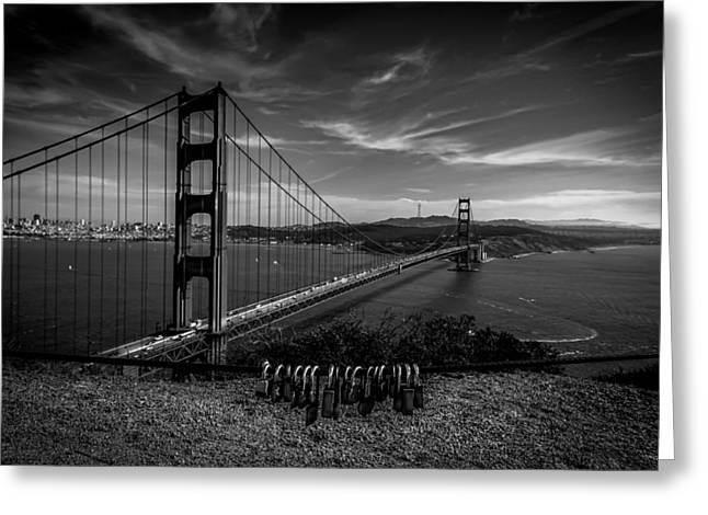 Golden Gate Bridge Locks Of Love Greeting Card