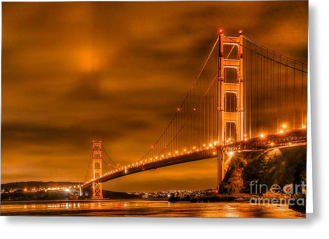 Golden Gate Bridge - Nightside Greeting Card by Jim Carrell