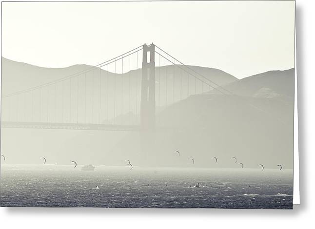 Best Sellers -  - Kiteboarding Greeting Cards - Golden Gate Bridge Greeting Card by Paul Plaine