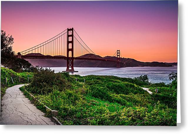 Golden Gate Bridge San Francisco California At Sunset Greeting Card