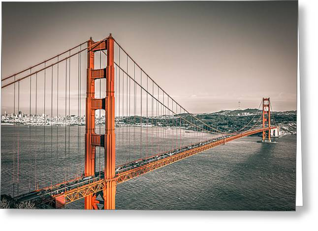 Golden Gate Bridge Selective Color Greeting Card by James Udall