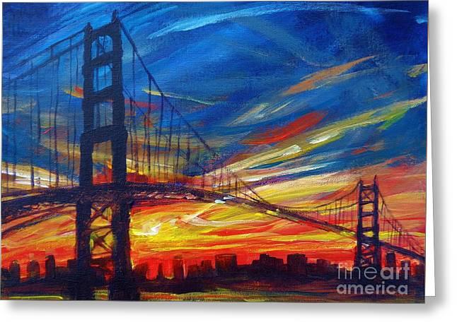 Golden Gate Bridge Sketch Greeting Card by Vanessa Hadady BFA MA