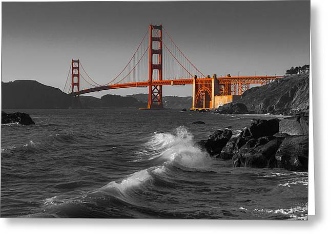 Golden Gate Bridge Sunset Study 1 Bw Greeting Card by Scott Campbell