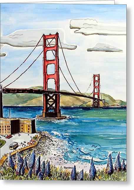 Greeting Card featuring the painting Golden Gate Bridge by Terry Banderas
