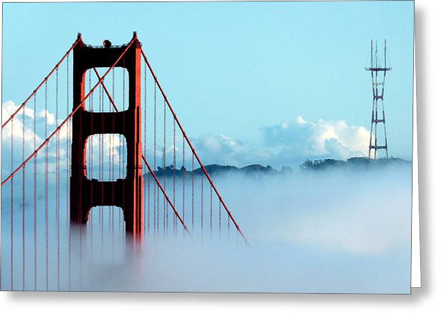Golden Gate Bridge Tower Fog Antenna Greeting Card