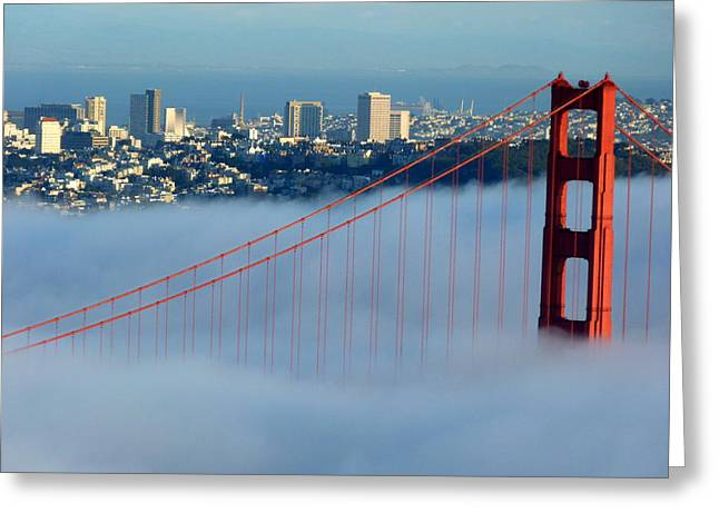 Golden Gate Bridge Tower In Sunshine And Fog Greeting Card