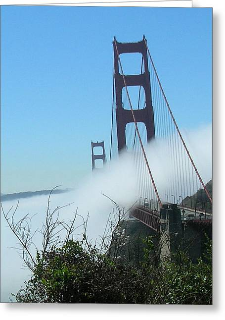 Golden Gate Bridge Towers In The Fog Greeting Card