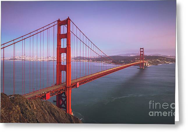 Golden Gate Bridge Twilight Greeting Card by JR Photography